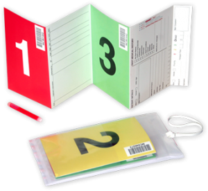Folding colour-coded card that methodically requests information. It fits into a plastic sleeve that is in turn, clipped on to patient clothing.