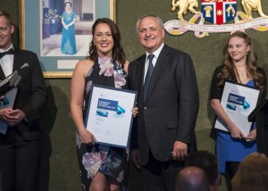 PSA National President Joe Demarte with Pharmacy Student of the Year winner, Shanae Hancey from Western Australia
